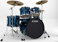 "Tama Imperialstar 5-Piece Drum Kit with 22"" Bass Drum and Cymbals Midnight Blue (ip52kcmnb)"